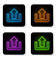 glowing neon upload icon isolated on white vector image vector image