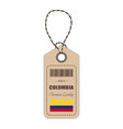 hang tag made in colombia with flag icon isolated vector image vector image