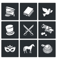 Hussars The novel War and Peace icons set vector image vector image