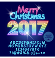 Light up rainbow Merry Christmas 2017 greeting car vector image