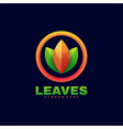 logo leaves gradient colorful style vector image