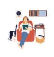 male music lover in headphones listening audio vector image vector image