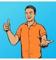 Man shows thumb gesture pop art vector image