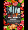 meat sausage dishes butcher cooking cutlery vector image