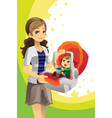 mother carrying baby vector image