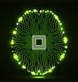 neon brain cpu circuit board vector image