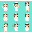 nurse with different emotions cartoon vector image vector image