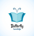 open book logo wit butterfly horns at the top vector image vector image