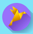 orange origami bird art icon vector image