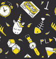 patch doodles on dark background seamless pattern vector image