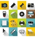 Photo studio icons set flat style vector image vector image