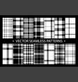 plaid pattern seamless ornate set black white vector image