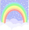 rainbow with clouds and stars vector image