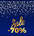 sale -70 poster depicting discount with snowflakes vector image