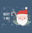 santa claus face celebration happy christmas vector image vector image