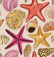 Seamless pattern of seashells and starfish vector image