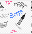 seamless pattern on the theme of travel in europe vector image