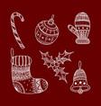 set of christmas decorative symbols vector image vector image