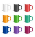 set of realistic colored mugs vector image vector image