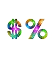Set of signs dollar and percent firework vector image