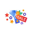 shopping symbols jewelry sale internet shopping vector image vector image