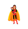 Superhero woman in orange cape with kid in her