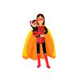 superhero woman in orange cape with kid in her vector image vector image