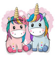 two cute unicorns on a heart background vector image vector image