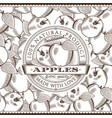 vintage apple label on seamless pattern vector image vector image