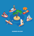 water activities isometric composition vector image vector image