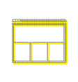 web window sign yellow icon with square vector image vector image