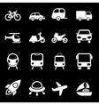 White Transport Icons vector image