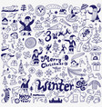 winter holidays - doodle set vector image vector image