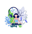 young woman sitting in lotus pose and meditating vector image