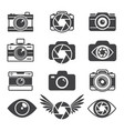 monochrome pictures of symbols for photographers vector image