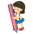 a girl holding pencil vector image