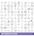 100 exercise icons set outline style vector image vector image