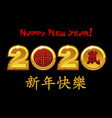 2020 new year zodiac rat on black vector image vector image
