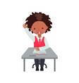 african american boy raising hand for an answer vector image vector image