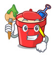 artist sand bucket character cartoon vector image