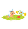 baby boy in bunny ears hunting for eggs vector image vector image