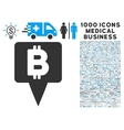 Bitcoin Map Pointer Icon with 1000 Medical vector image vector image