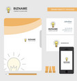 bulb business logo file cover visiting card and vector image vector image