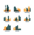 canada cities icons set skyline logo pack vector image
