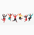 cheerful group diverse young people team vector image