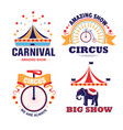 circus show and carnival isolated icons fair vector image vector image