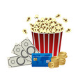 color pop corn clipart movie and money icon vector image vector image