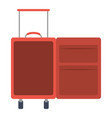 color silhouette with opened empty suitcase of vector image vector image