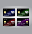 credit cards set with black abstract design vector image vector image