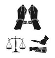 crime and punishment black icons in set collection vector image vector image